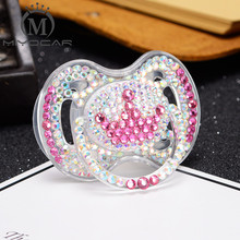 MIYOCAR colorf bling pink crystal rhinestone crown Pacifier/ Nipples /Dummy /cocka /chupeta baby gift babyshower