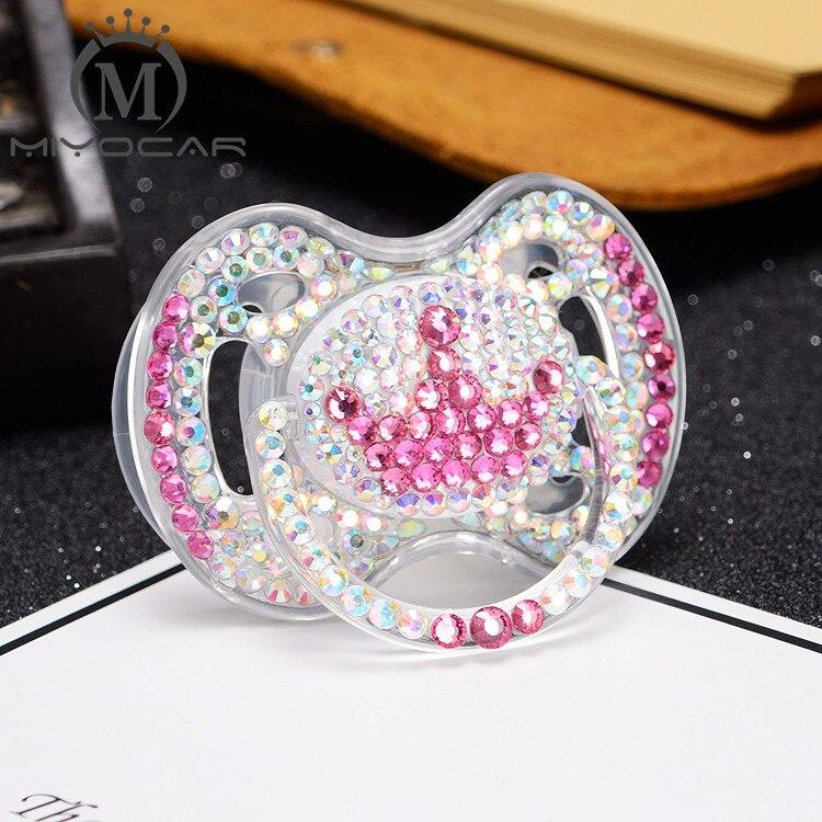 MIYOCAR colorf bling bling pink crystal rhinestone pink crown Pacifier/ Nipples /Dummy /cocka /chupeta baby gift babyshower
