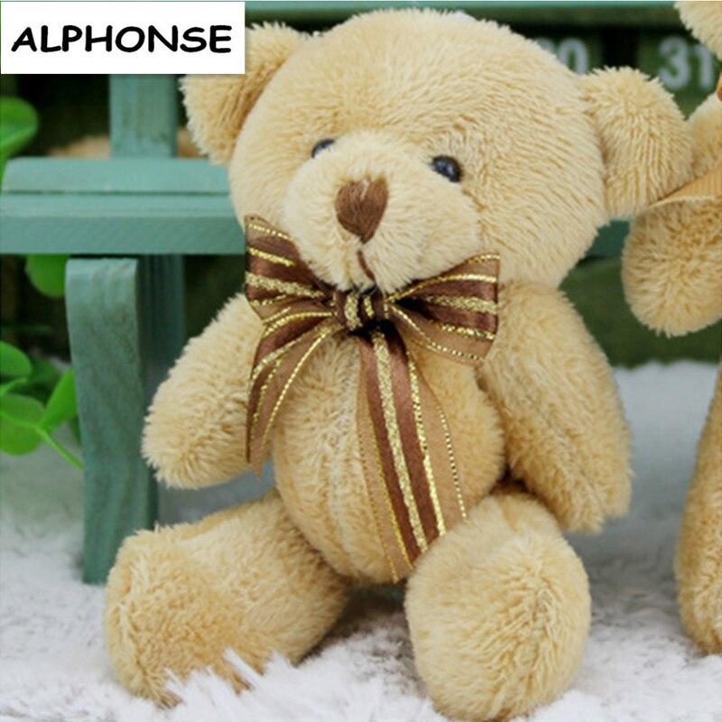 24 шт./лот хлопок внутри 12 см = 4.7 дюйма коричневый цвет мини плюшевый медведь, милый бант плюшевые медведи букеты медведь для свадьбы игрушки