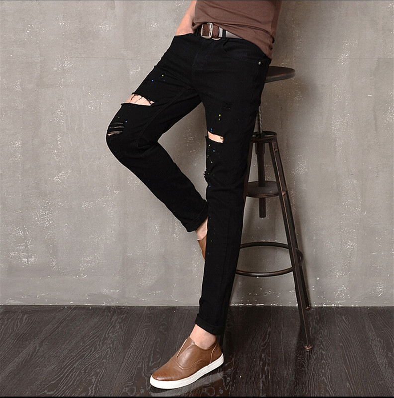 ФОТО 2016 Punk style white Knee hole scratch jeans for men casual slim black washing beggar ripped jeans men feet pants male  jeans