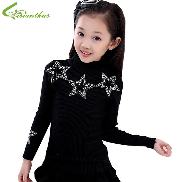 2017 ropa interior de otoño invierno niñas espesar algodón Que Hace Punto básico de cuello alto camisa suéter de la muchacha que basan las camisas Envío de la gota shippi