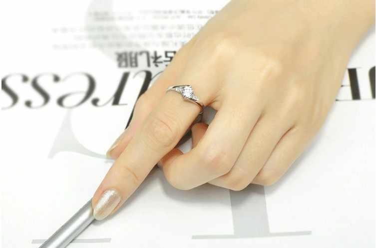 Mode Micro zircon cubique avec des anneaux de doigt en cristal blanc 925 sterling-argent-bijoux pour femmes filles fête