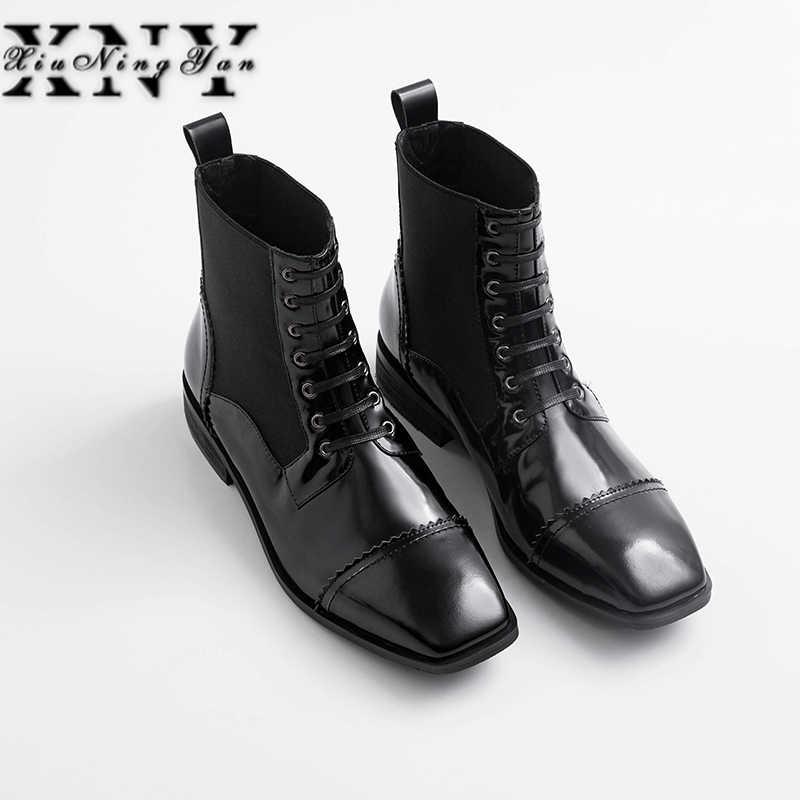 Damskie buty z prawdziwej skóry Brogue botki koronka Up Chelsea niskie obcasy damskie botki jesień 2019 damskie buty biurowe