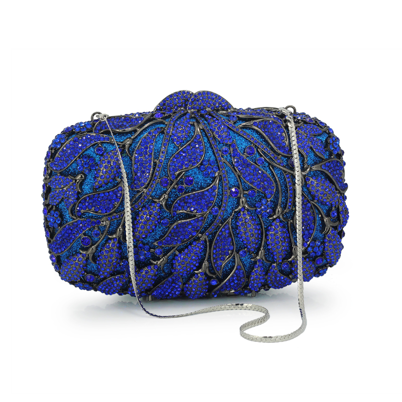 Women Crystal Clutches Fashion Party Blue Bags Ladies Evening Clutch Bag Female Flower(88218-BB)