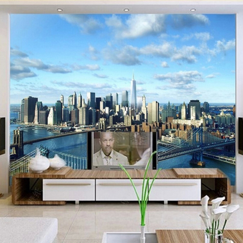Personnalis photo mur papier 3d salon tv fond mur d cor for Decoration murale vue sur new york