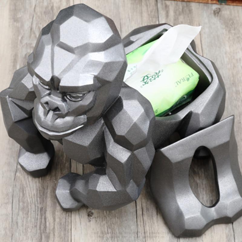 Soporte de tejido de gorila de geometría creativa casete orangután soporte de papel bandeja de bombeo decoración de sala de estar mejor regalo-in Figuras y miniaturas from Hogar y Mascotas    2