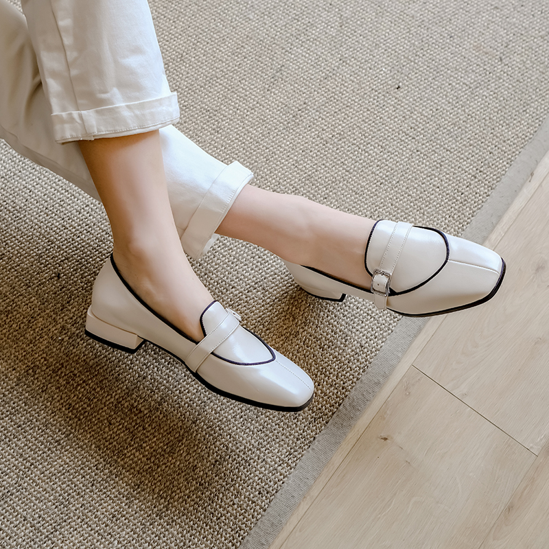 New Arrival Genuine Leather Women Flats Slip On Square Toe Sewing Footwear Spring/autumn Fashion Ladies Loafer Lady Casual Shoes