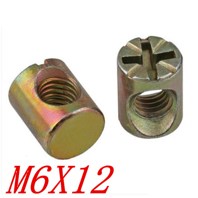 20pcs M6 12 Furniture Cross Head Hammer Nut Barrel Nut In Nuts From
