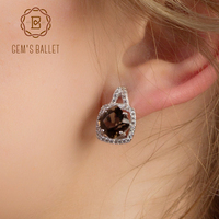 Gem S Ballet Natural Smoky Quartz Genuine 925 Sterling Silver Clip Earrings For Women Gift Fashion