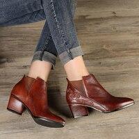 Обувь с цветами и вышивкой; Новинка; женские ботильоны в стиле ретро с острым носком; женские полусапожки на высоком каблуке; женские ботинк