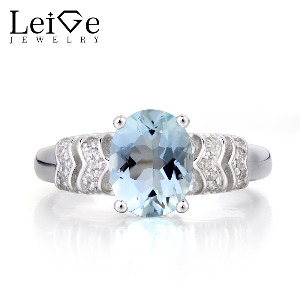 Natural Aquamarine Ring Engagement Ring Sterling Silver March Birthstone