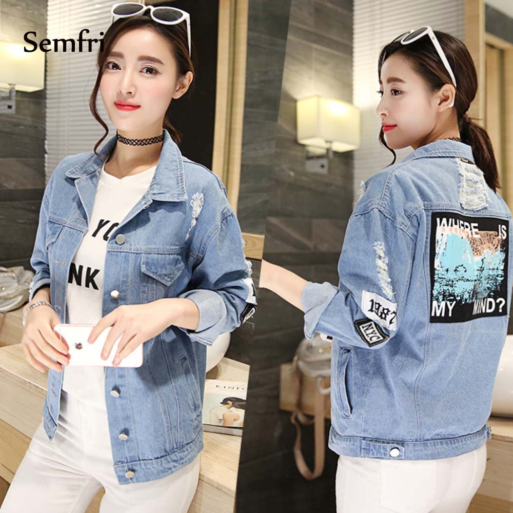 Semfri Women Jean Jacket Embroidery Letter Patch Bomber Jacket Blue Ripped Distressed Denim Coat Turn-Down Collar Loose Casual