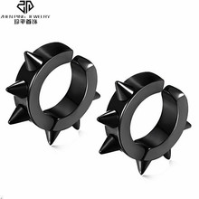 Trendy Rivet Spike Men Earring black Stainless Steel Clip Earrings No Pierced Hole Punk Women Jewelry