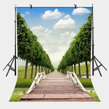 5x7ft Wooden Bridge Backdrop Green Path Photography Background and Studio Props