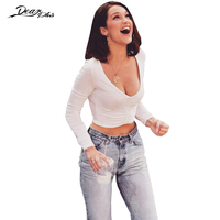 FHTEX Women Sexy Deep V Neck Slim Casual Crop Top Fashion Long Sleeve Ruched White T