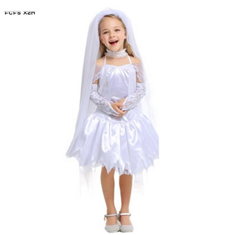 0ec29b8a1 White Girls Halloween Bride costume Children Kids wedding dress cosplay  princess angel Role play Carnival Purim