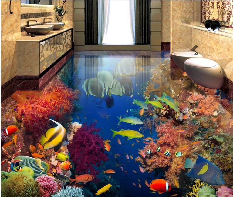 ФОТО custom wallpaper self adhesive 3d flooring Tropical Fish wall mural wallpaper modern bathroom flooring waterproof wallpaper