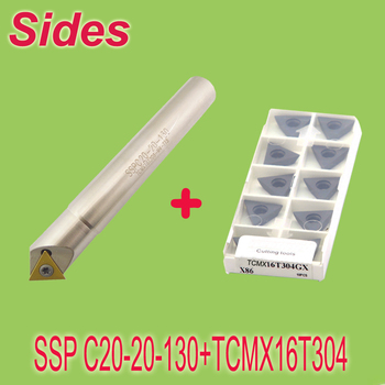 SSP 20-20-130+10pcs TCMX16T304 45 Degree Insertable Face Chamfer Mill/ 20mm Chamfer Mill with Inserts