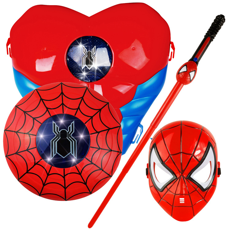 MarvelAvengersSpider Man IronMan HulkCaptain America Batman Panther Breastplate Shield Glowing Sword Cloak Halloween ShowPlaySet in Action Toy Figures from Toys Hobbies