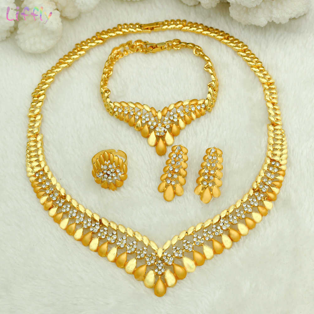 Liffly Gold Jewelry Bridal Jewelry Sets for Women Charm Necklace Bracelet Ring Earring Nigerian Wedding Dubai Jewelry Set