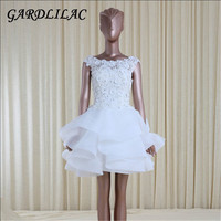 Gardlilac lace applique ball gown short homecoming dress 2017 white prom party dress with beading .jpg 200x200