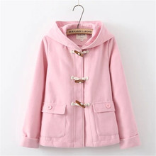 OLGITUM hoodies Black&Pink Bear ears hood cute hoodies Winter&Autumn Women coats Pullover Warm Woolen Outwear Jacket WC023