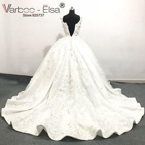 Image 2 - Роскошное белое кружевное свадебное платье varboo_эльза 2018 с 3D аппликацией, свадебное платье по индивидуальному заказу, женское свадебное платье