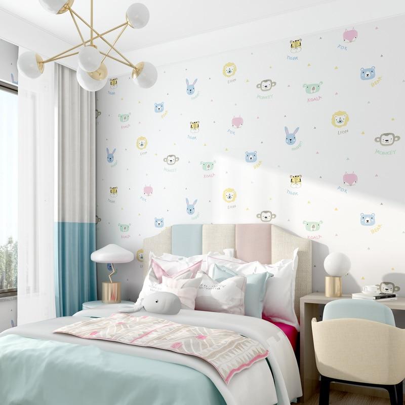Cute animal  cartoon wallpaper Childrens room bedroom girls boys modern simple style princess mural