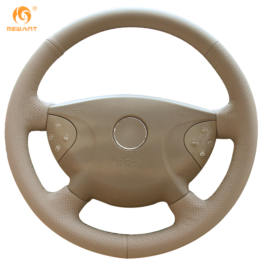 MEWANT Beige Genuine Leather Car Steering Wheel Cover for Mercedes Benz W210 E240 E63 E320 E280 2002-2005