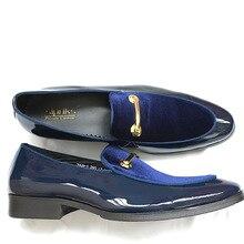 Роскошная обувь для мужчин sipriks мужские свадебные синие туфли-смокинг черные модельные туфли из лакированной кожи без шнуровки для банкета обувь, увеличивающая рост Мужская обувь 44