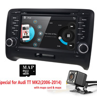 7 inch 2 DIN Car DVD Player For AUDI TT 2006 2014 3G GPS Radio Stereo Audio Video Steering wheel CD TV BOX RDS Bluetooth Cam MAP