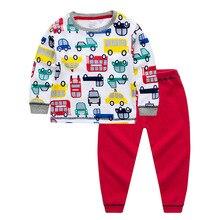 Купить с кэшбэком 2019 children Autumn Pajamas clothing Set Boys & girls Cartoon Sleepwear Suit Set kids long-sleeved+pant 2-piece baby clothes