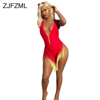 Gradient Tassels Sexy Beach Bodysuit Women Deep V Neck Sleeveless Skinny One Piece Overall Summer Front Zipper Bodycon Playsuit zipper front backpack with tassels