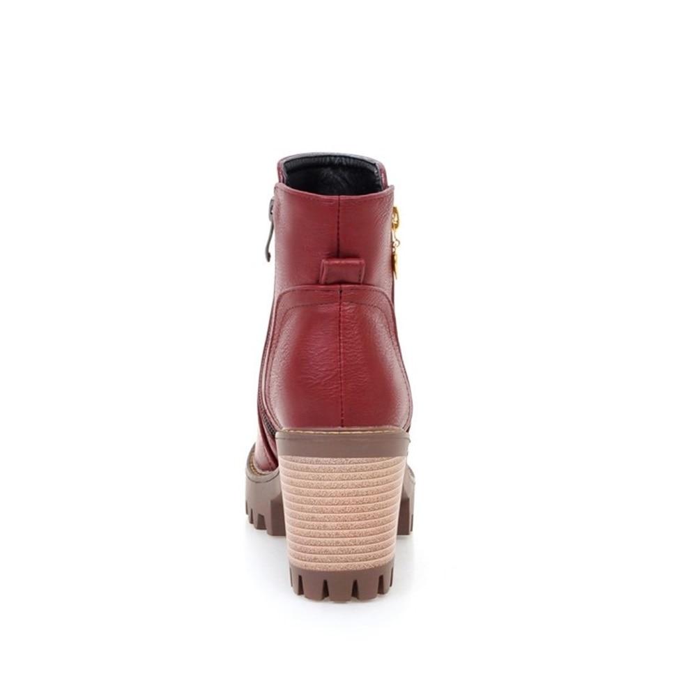 US $44.6 |MESUOTO Dicke Sohle Untere Gummi Plattform Platz High Heels Frauen Reitstiefel Vintage Ankle Block Chunky Frau Schuhe in MESUOTO Dicke Sohle