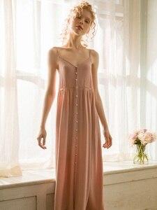 Image 2 - Cotton Dài Váy Ngủ Cho Nữ Thanh Lịch Công Chúa Sâu Hồng Đồ Ngủ Cardigan Rời Đầm
