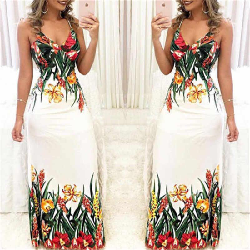 אופנה נשים קיץ פרחוני ללא שרוולים רצועת V צוואר Boho שמלה מזדמן ארוך מקסי ערב מסיבת חוף שמלה קיצית