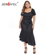 купить SEBOWEL 2019 Plus Size Polka Dot Short Sleeve Dresses Woman Elegant Summer Sweetheart Neckline Curve Party Flare Dress XL-5XL по цене 1432.24 рублей