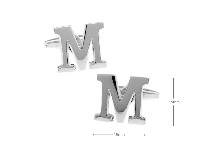 Series of letters,The letter M type cufflinks,mens cuffinks jewelry