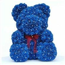 Бриллиантовая Роза медведь с сердцем искусственные розы из пены розы цветок бриллианты медведь Роза подарок на день Святого Валентина День Матери