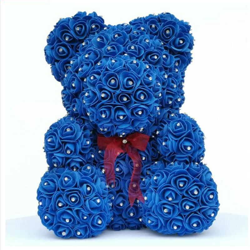 2020 Diamond rose bear with heart artificial roses foam roses flower Diamonds  bear rose Valentine's Day gifts Mother's Day-in Artificial & Dried Flowers from Home & Garden