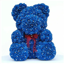 2020 Diamond rose bear with heart artificial roses foam roses flower Diamonds  bear rose Valentines Day gifts Mothers Day