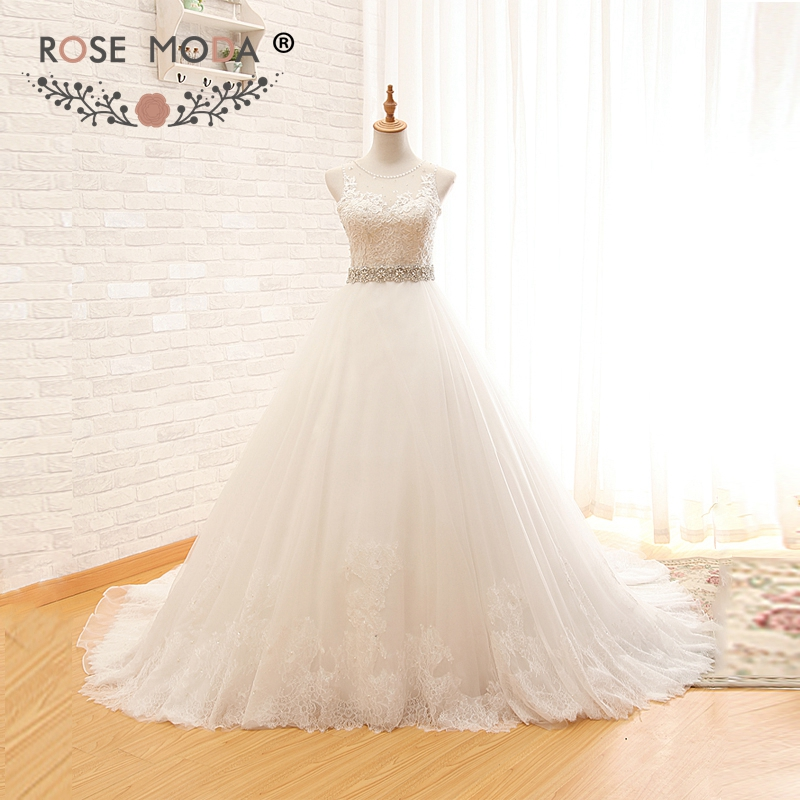 Rose Moda Princess Lace Ball Gown High Neck Sleeveless Puffy Tulle Wedding Dress with Crystal Sash