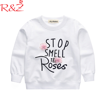 R&Z Baby Girls Clothes 2018 New  Korean Spring Cotton Tops Letter 3D Flowers Long Sleeved T-shirt for Kids Children's Clothing