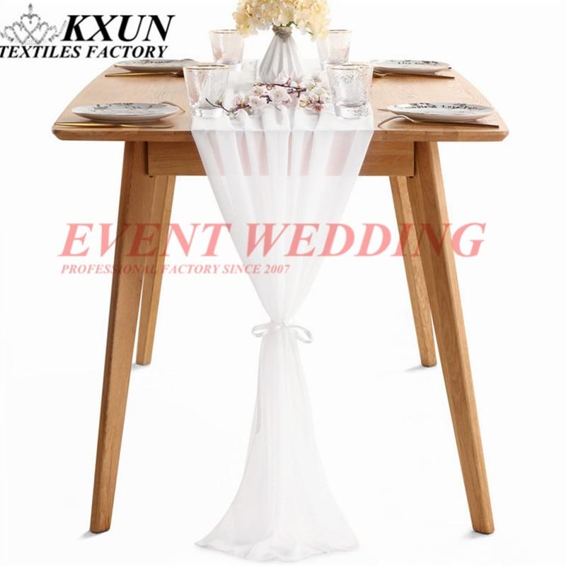 35 × 275 センチメートルシフォンテーブルクロスランナーウェディングランナーとネクタイイベントパーティーのためにホテルの装飾  グループ上の ホーム&ガーデン からの テーブルランナー の中 2