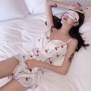 Image 4 - 2019 Summer New Women Pajamas Sets with Shorts Sexy Pyjama Satin Flower Print Nightwear Silk Negligee Sleepwear Pyjama