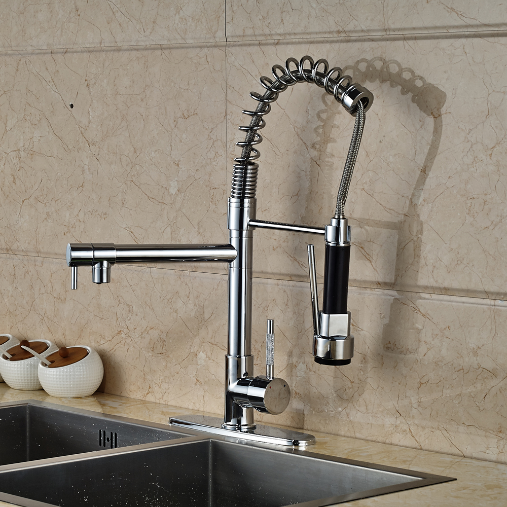 Chrome Finished Deck Mounted Single Handle/Hole Mixer Tap Swivel Spout Kitchen Sink Faucet chrome finished floor mounted swivel spout bathroom tub faucet single handle mixer tap