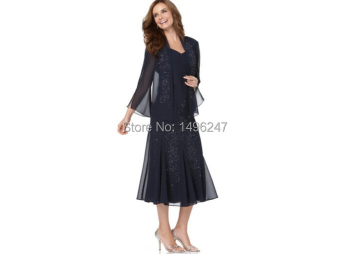 Fast Shipping Elegant Sleeve Long Evening Dresses Graceful Appliqeus Blue Mother  Of The Bride Dresses With Jactet Vestido Longos-in Mother of the Bride ... 5014a0ead2cd