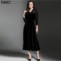 TUHAO Màu Đen Cổ Điển V-Cổ Mùa Thu Nữ Váy Vá Cổ Điển Thiết Kế Ren Sexy Elegant Mid-Bê cho Phụ Nữ Quần Áo LN55