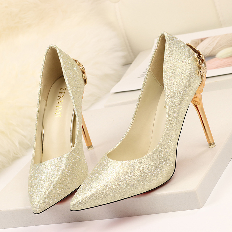 Women Pumps Sexy High Heels Shoes Fashion Beautiful Bride Wedding Shoes Gold Sliver Ladies Shoes Thin Heel Pumps Shoes big size 40 41 42 women pumps 11 cm thin heels fashion beautiful pointy toe spell color sexy shoes discount sale free shipping