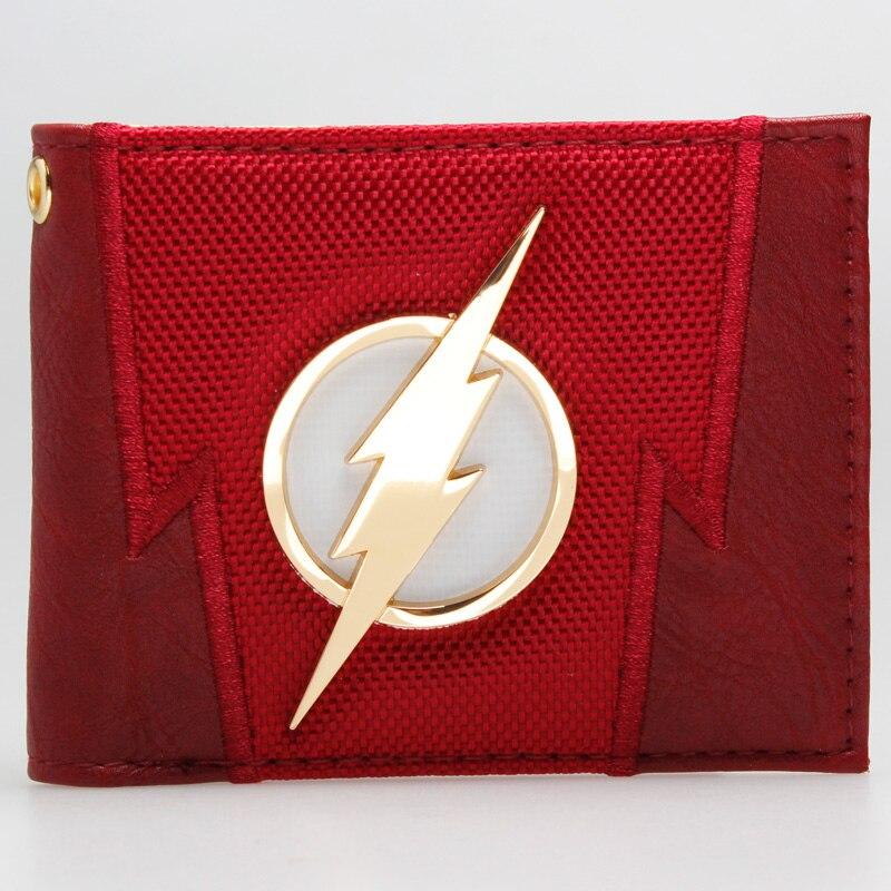 The Flash Red embroidered Metal badge  Bifold  Men Wallet Women Purse DFT-1875